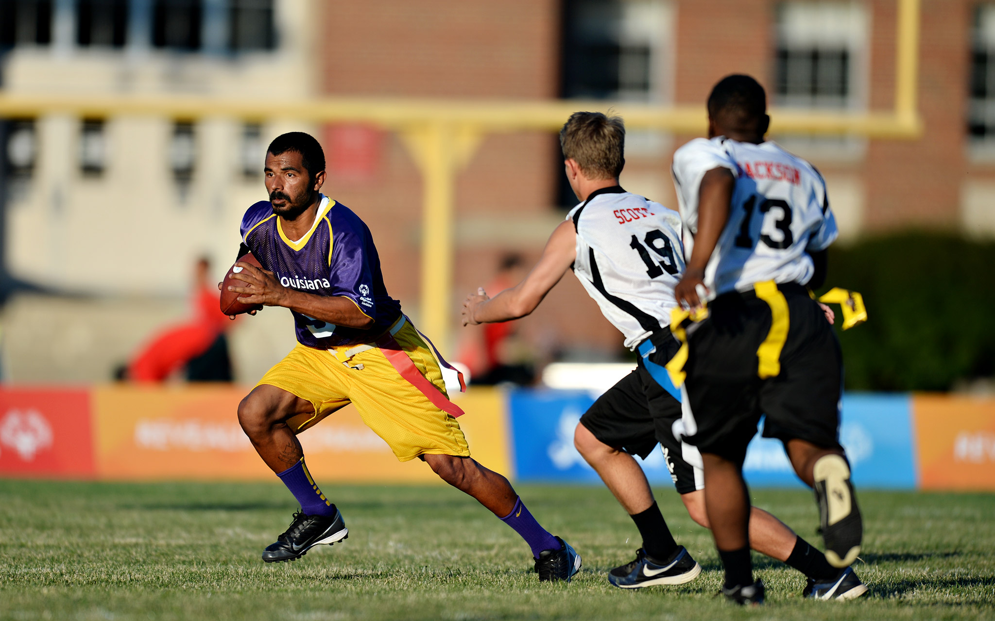 Albert AJ Friou of Louisiana, left, was among the participants in flag football, which made its second appearance at the USA Games. Louisiana went on to win gold.