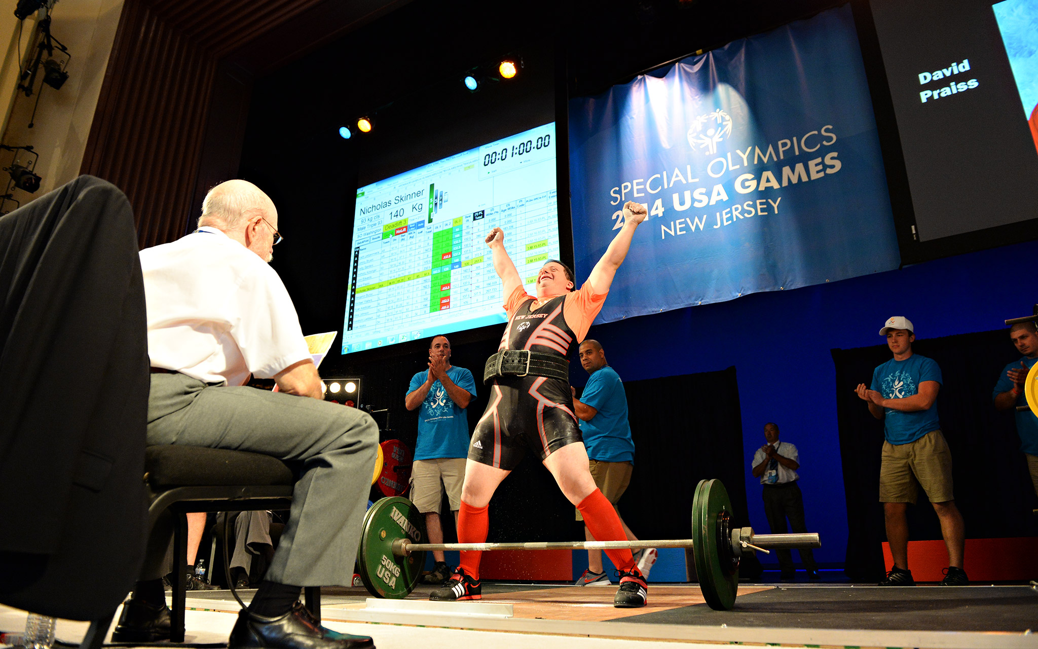 David Praiss of New Jersey took gold in the bench press and squat, bronze in the dead lift, and gold in the all-around in his division. He has competed in Special Olympics for 33 years.