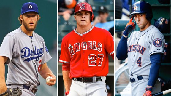 Clayton Kershaw, Mike Trout & George Springer