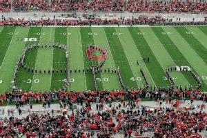 Ohio State's marching band performs the Script Ohio before the November 2012 game against Michigan.