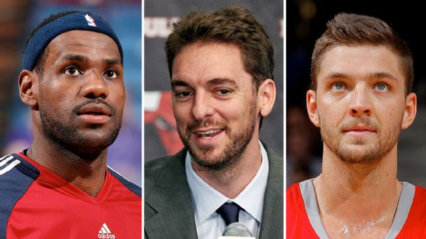 LeBron James, Pau Gasol, and Chandler Parsons