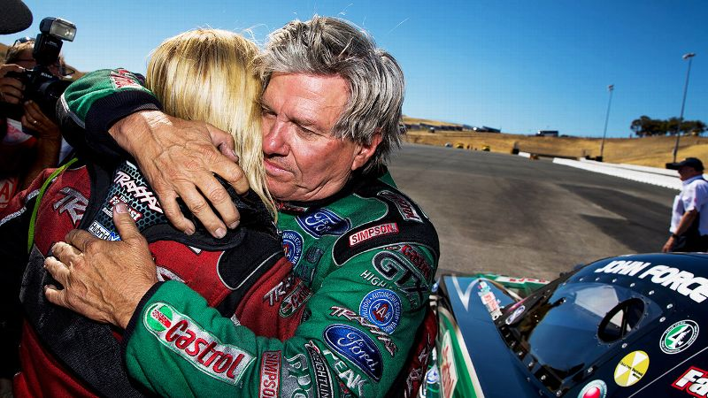 John Force, 30 points ahead of daughter Courtney in the standings, described racing against a family member as gut-wrenching.