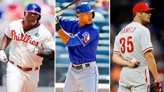 Marlon Byrd, Alex Rios, and Cole Hamels