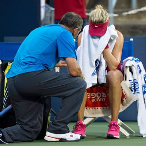 The normally poised Eugenie Bouchard said she'll learn a lot from Tuesday's loss.