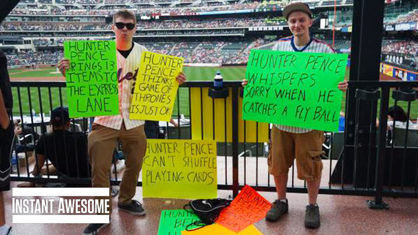 The Giants' Hunter Pence got trolled by fan signs. This is ...