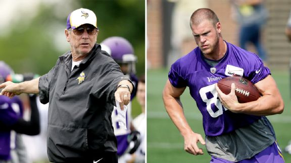 Norv Turner and Kyle Rudolph