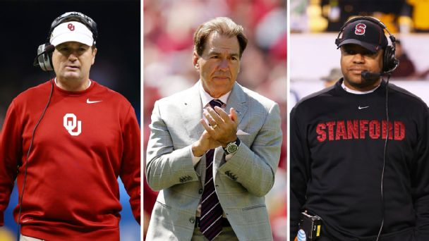 Bob Stoops, Nick Saban, David Shaw