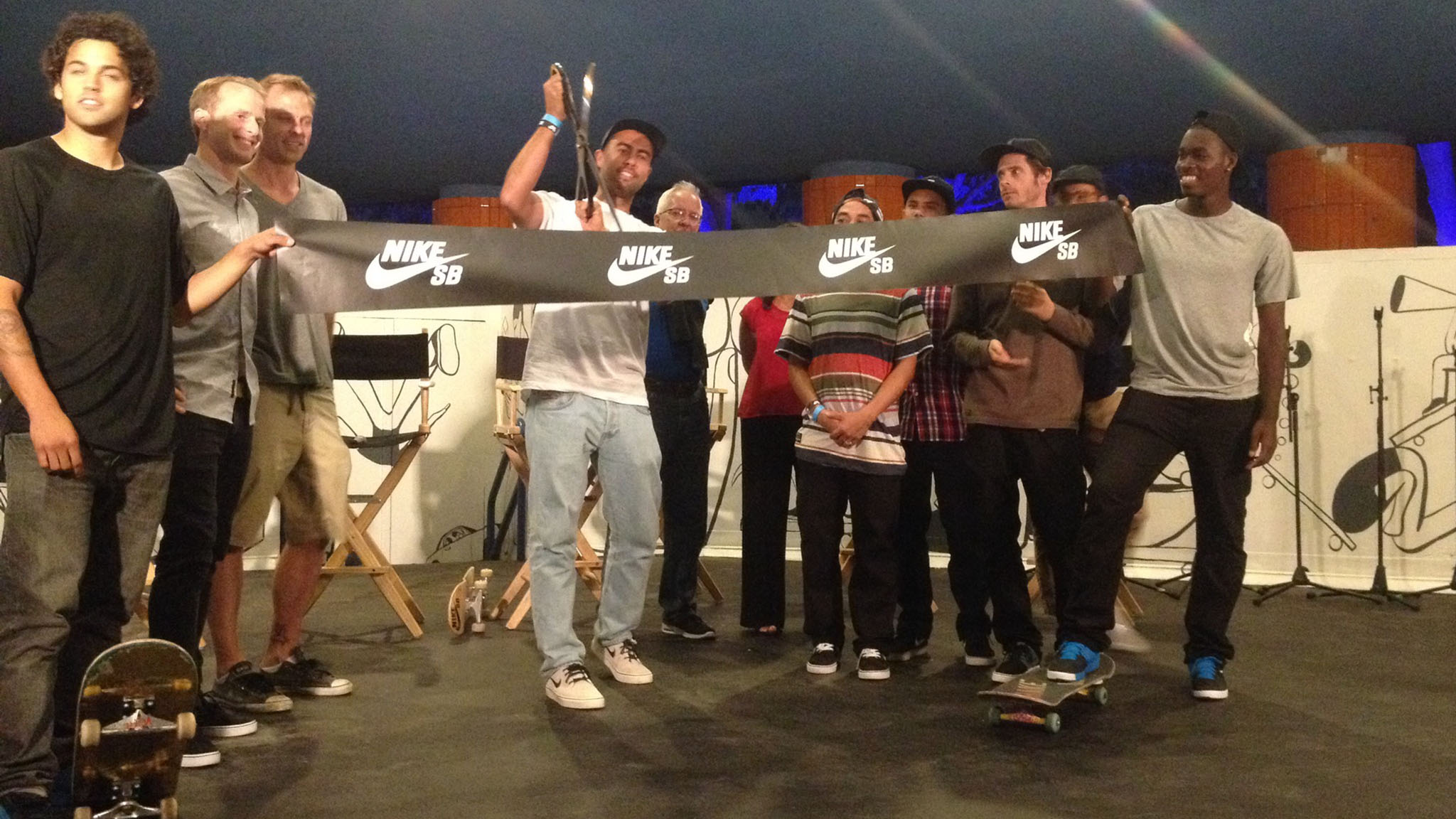 Eric Koston oversees the ribbon cutting for the legal reopening of the Santa Monica Courthouse for skateboarding.