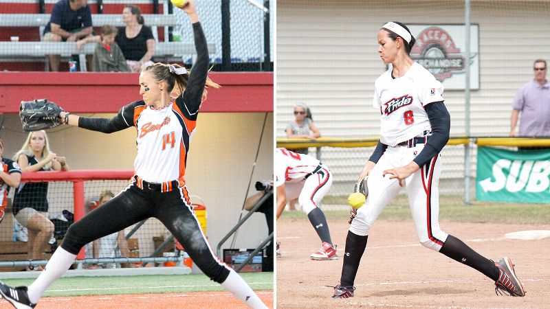 With hitters dominating in softball lately, the days of pitchers like Cat Osterman, right, and Monica Abbott, left, stealing the spotlight appear to be coming to an end.