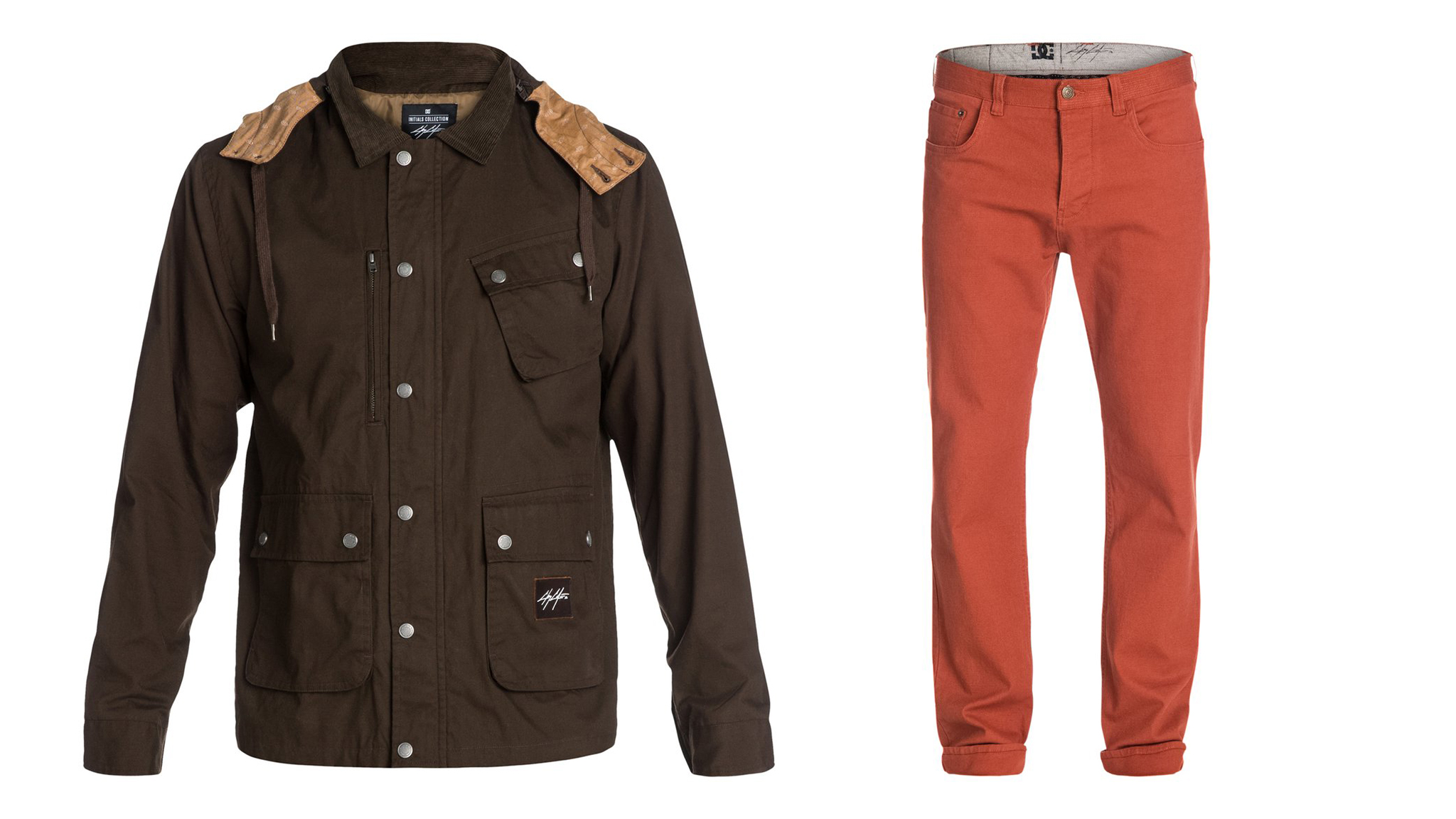 DC's Chris Cole signature Jagger jacket (left) and canvas Cult Cole pants (right).