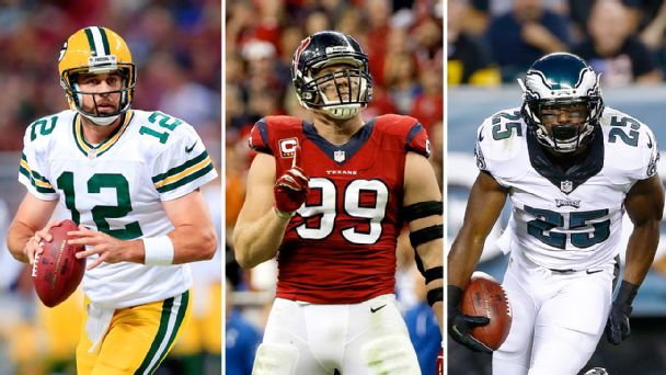 Aaron Rodgers, J.J. Watt and LeSean McCoy