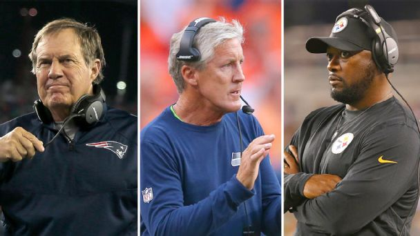 Bill Belichick, Pete Carroll and Mike Tomlin