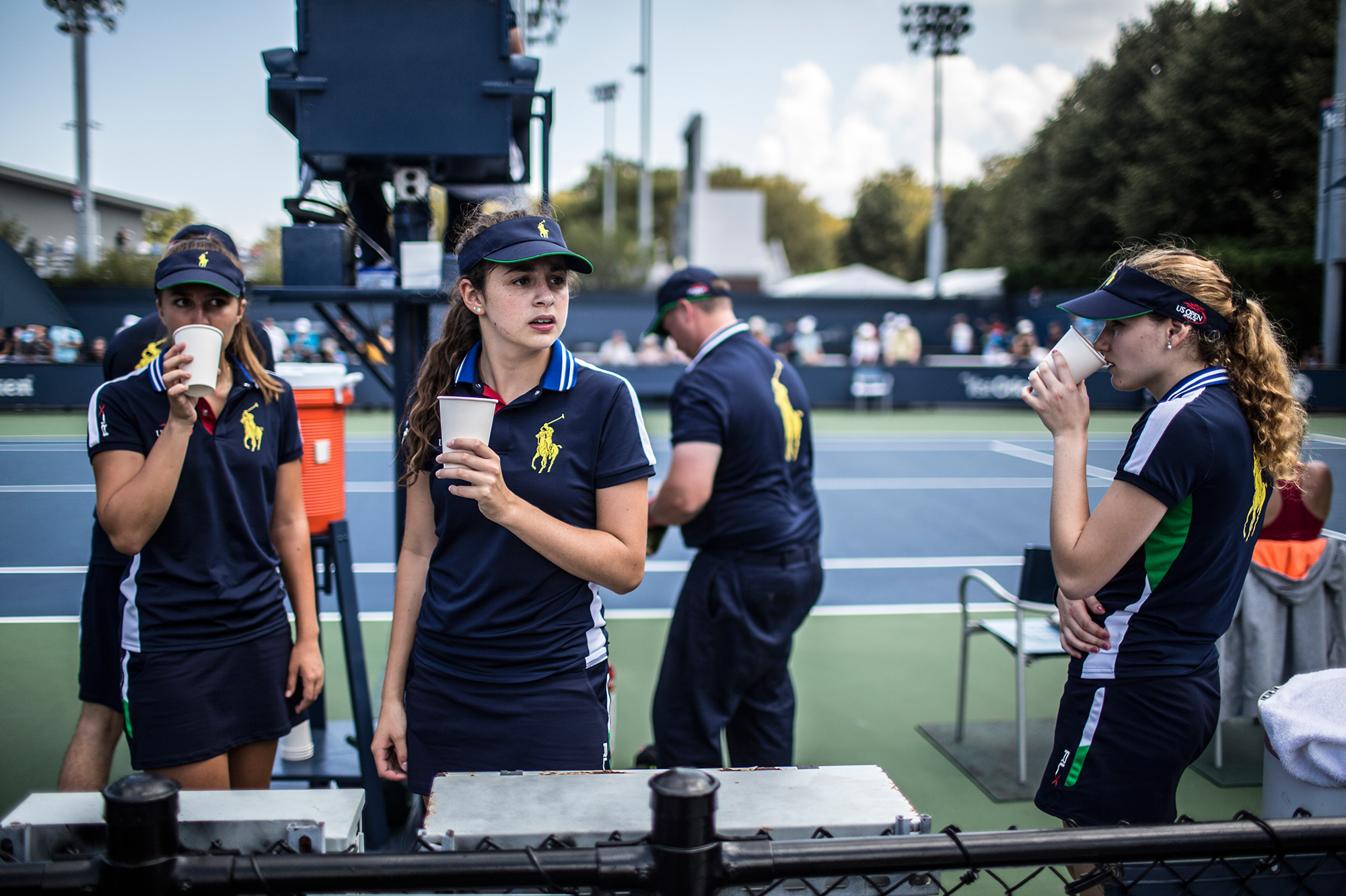The players weren't the only ones on Court 15 who needed to hydrate throughout the day.