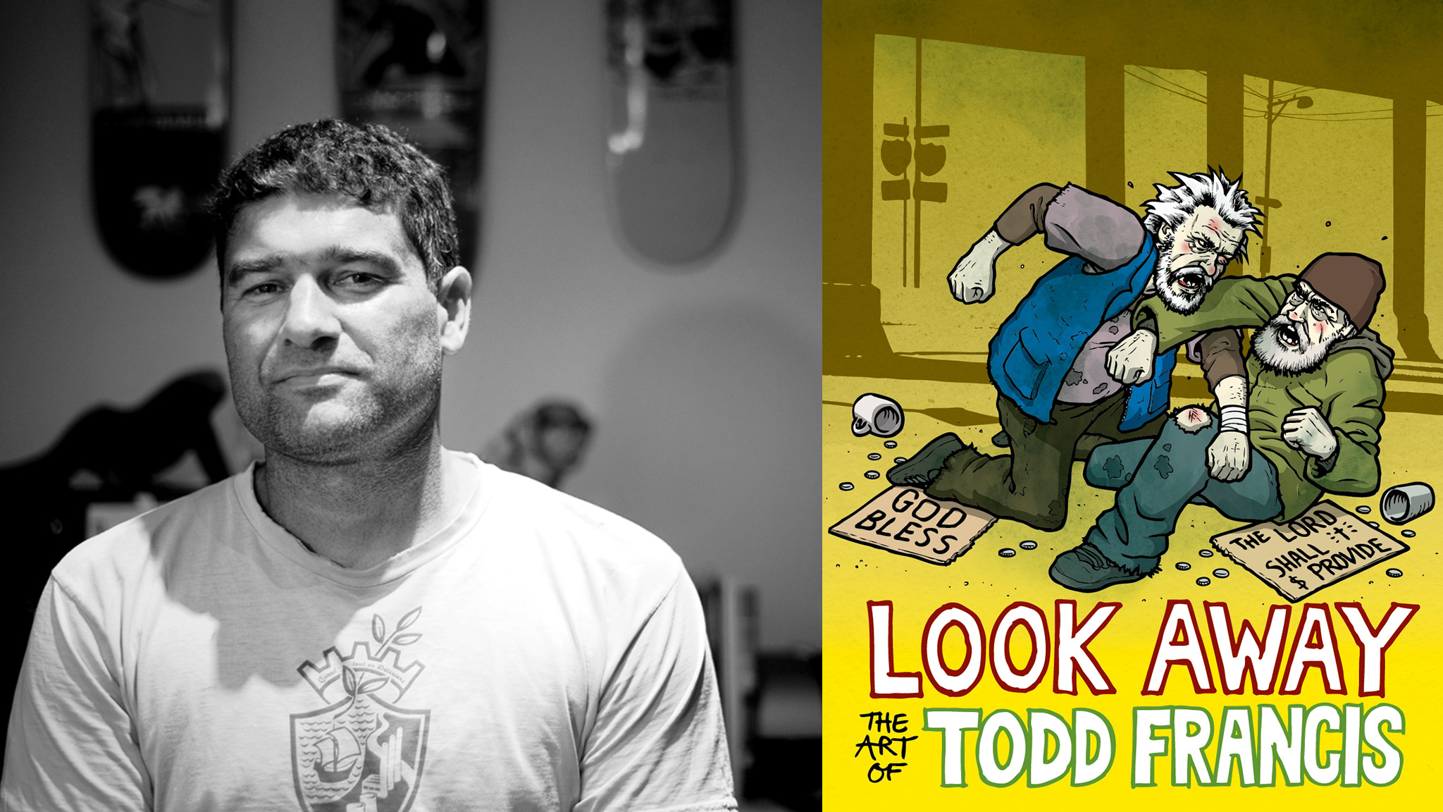 Artist Todd Francis (left) recently released his first collection of artwork, titled Look Away: The Art of Todd Francis.