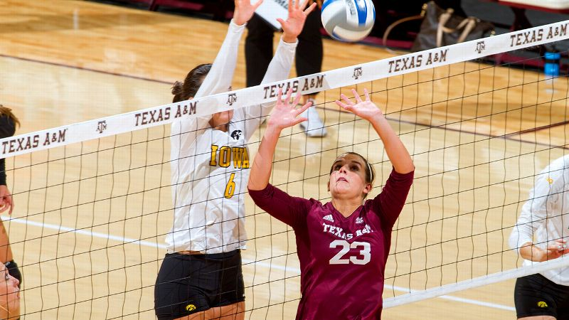 Stephanie Aiple had 56 assists, four kills, eight digs, two blocks and two service aces to help Texas A&M hand then-No. 6 USC its first loss of the season at last week's USC Classic.