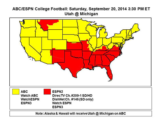 football tv coverage today college footballs