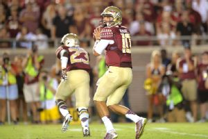 Tallahassee, FL - September 20, 2014 - Doak Campbell Stadium: Sean Maguire (10) of the Florida State University Seminoles during a regular season game (Photo by Scott Clarke / ESPN Images)