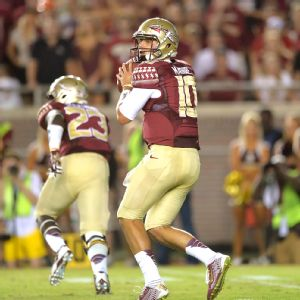 Tallahassee, FL - September 20, 2014 - Doak Campbell Stadium: Sean Maguire (10) of the Florida State University Seminoles during a regular season game (Photo by Scott Clarke / E