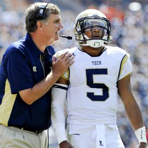 Georgia Tech's Paul Johnson and Justin Thomas