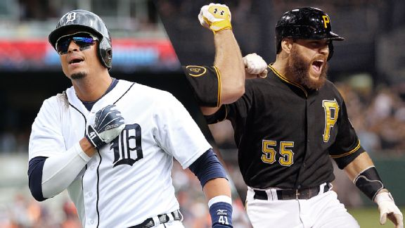 Victor Martinez and Russell Martin