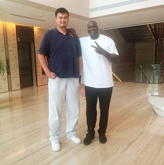 Yao Ming and Shaquille O'Neal