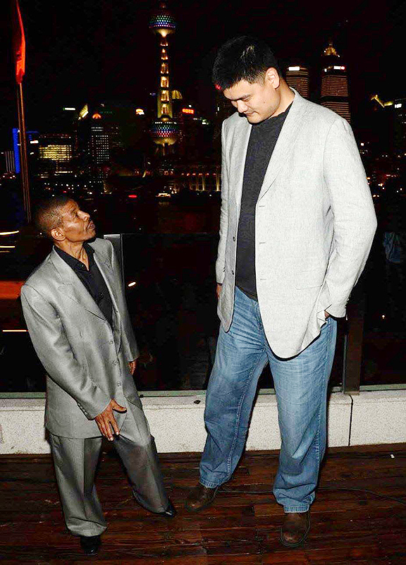 Yao Ming and Mugsy Bogues