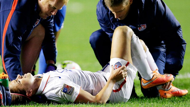 Alex Morgan was carried off the field with a left ankle injury and grimaced shortly afterward, when she attempted to put pressure on the ankle.