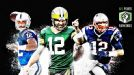 Andrew Luck, Aaron Rodgers y Tom Brady