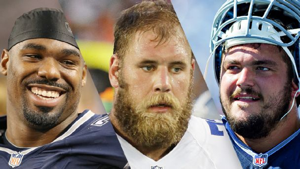 Tyron Smith, Travis Frederick and Zack Martin