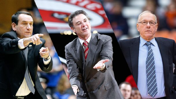 Mike Krzyzewski, Rick Pitino, and Jim Boeheim