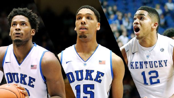 Justise Winslow, Jahlil Okafor and Karl Towns