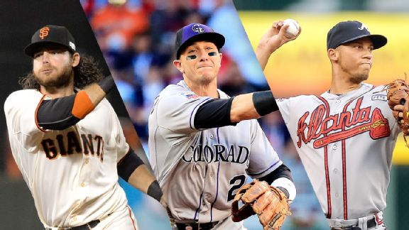 Brandon Crawford, Troy Tulowitzki, and  Andrelton Simmons