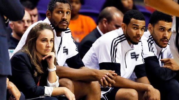 becky hammon watching pregame with the san antiono spurs
