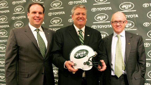 Mike Tannenbaum, Rex Ryan and Woody Johnson