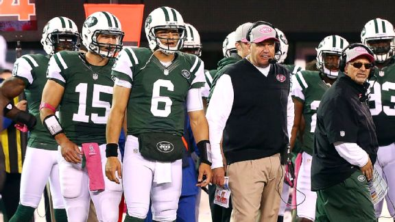 Tim Tebow, Mark Sanchez, Rex Ryan and Tony Sparano