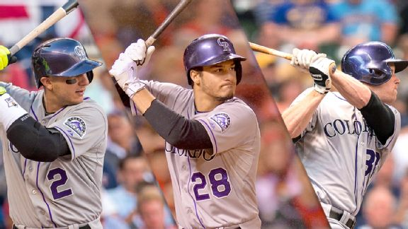 Troy Tulowitzki, Nolan Arenado and Justin Morneau