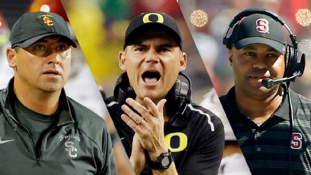 Steve Sarkisian, Mark Helfrich and David Shaw