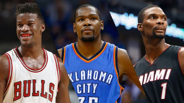Jimmy Butler, Kevin Durant, and Chris Bosh