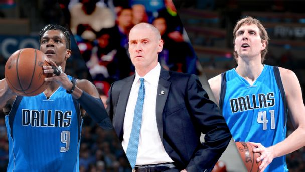 Rajon Rondo, Rick Carlisle and Dirk Nowitzki