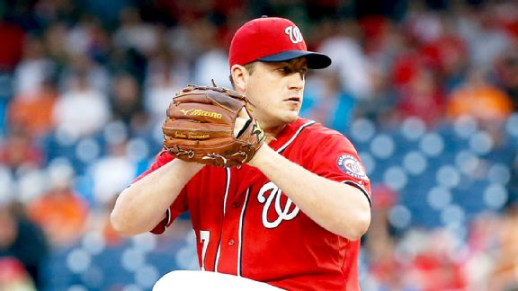 Washington Nationals starting pitcher Jordan Zimmermann (27) pitches