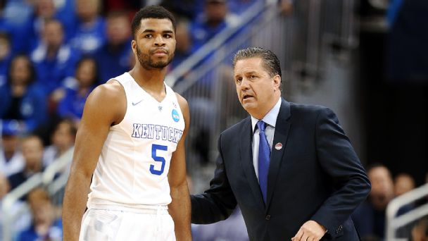 Andrew Harrison and John Calipari