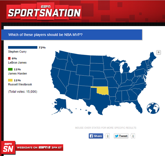 NBA MVP SportsNation Map