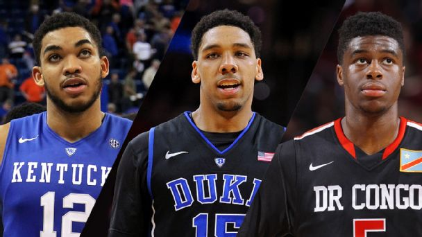 Karl-Anthony Towns, Jahlil Okafor and Emmanuel Mudiay