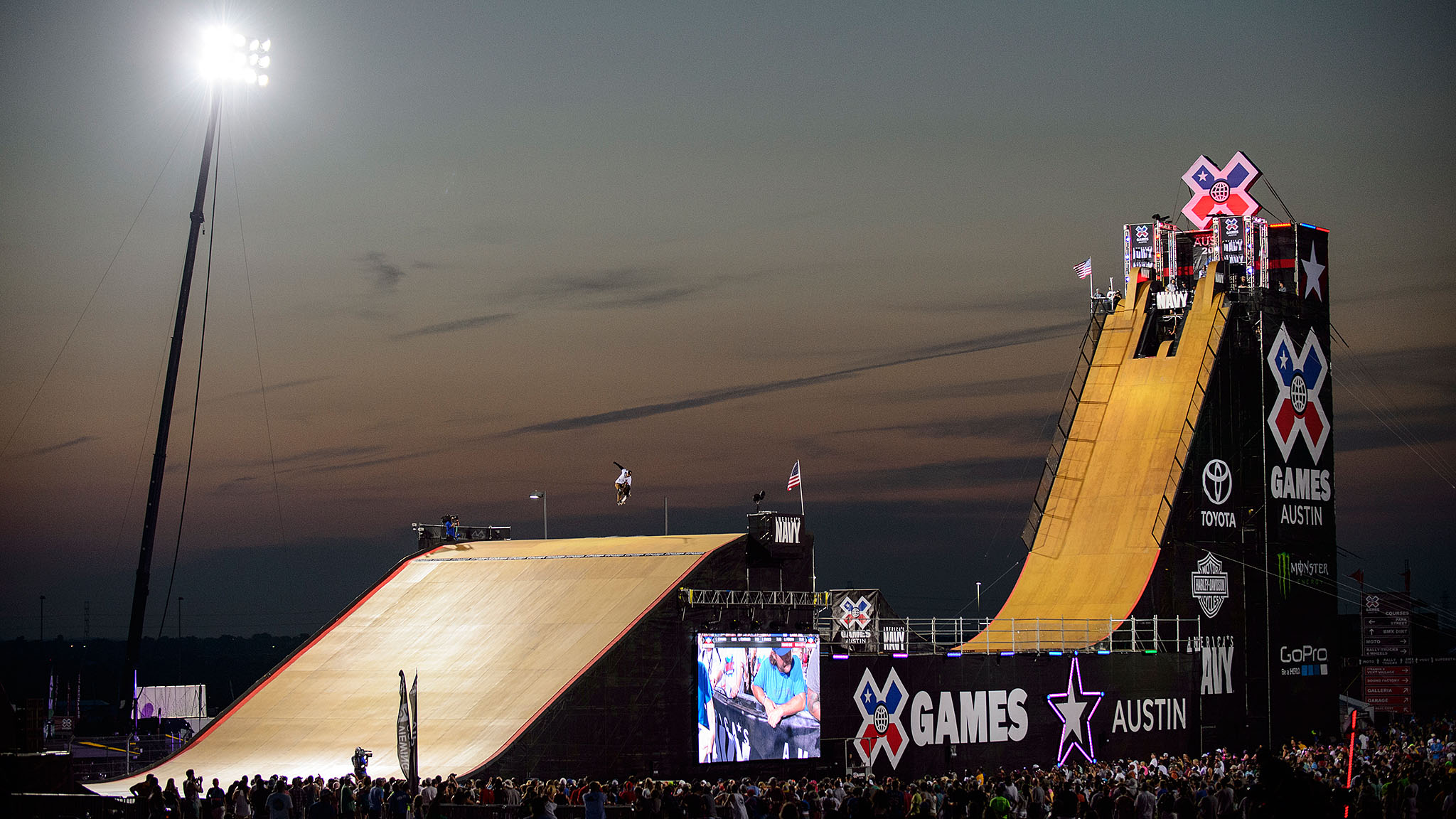 In what appears to be something of a tradition at X Games, Bob Burnquist sustained an injury prior to competing in Skateboard Big Air on Friday. This time it was his left forearm, hurt in Vert practice earlier in the week. X-rays revealed a non-displaced stable fracture, and with a protective split, he still managed to land a switch 540 lien, grabbed with his injured appendage, followed by an Indy 720 to fakie on the quarterpipe, all of which won him his eighth Big Air gold.