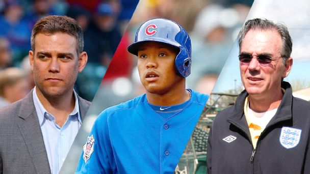Theo Epstein, Addison Russell and Billy Beane