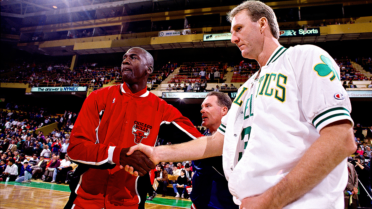 "a comparison of michael jordan and larry bird ""oh really michael jordan's first seven years, they ripped him to pieces  is a better comparison  having played against some of the all-time greats — jordan, magic johnson, larry."