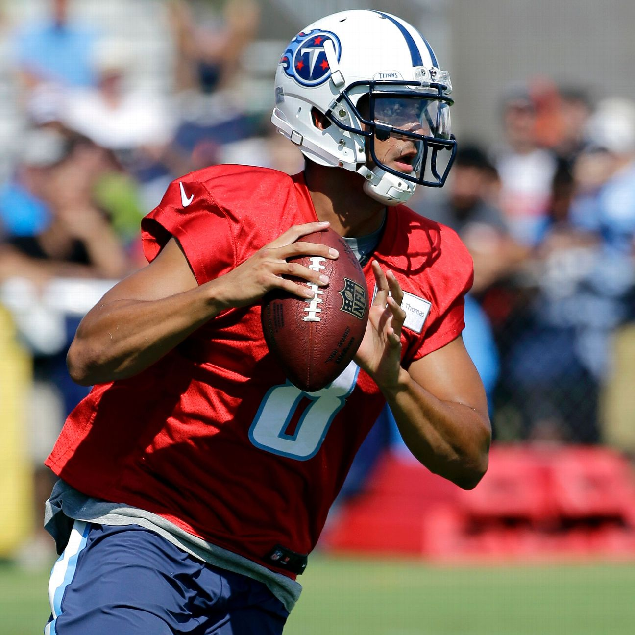 With Titans in pads, Marcus Mariota will feel pass pressure Sun…