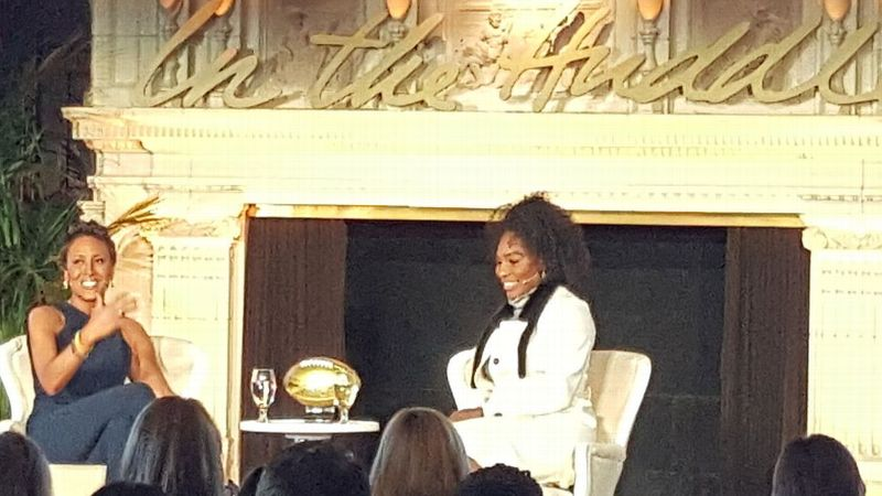 Robin Roberts hosts an interview with Serena Williams on Day 2 of the NFL Women's Summit.