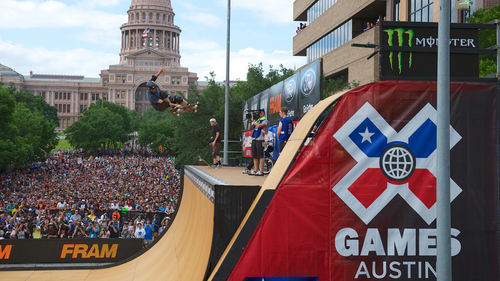 Tony Hawk performs a skate demo on a halfpipe in downtown Austin, Texas during the inaugural X Games Austin in 2014.