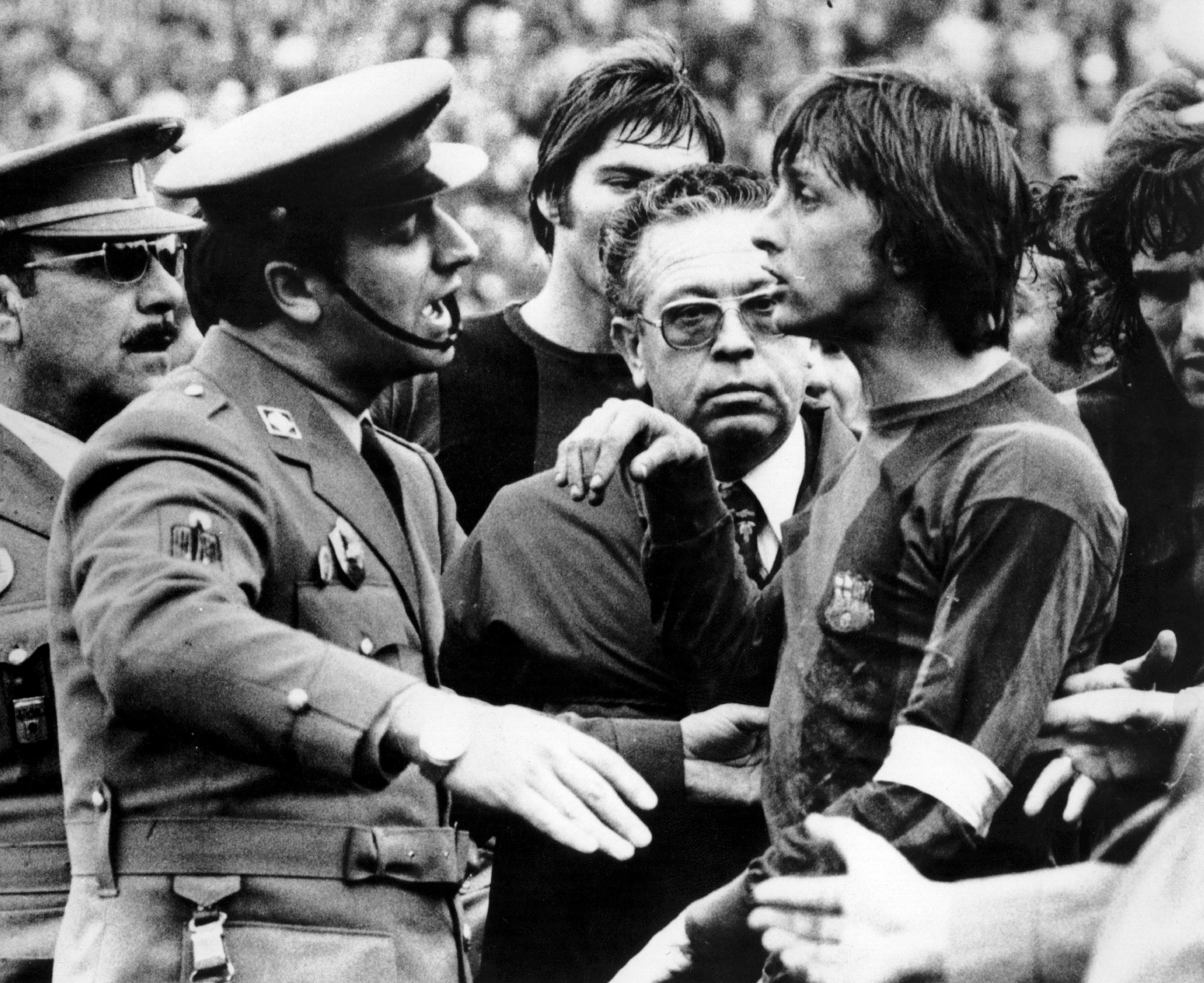 Escorted off the field with Barcelona